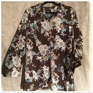 Emma James Button up Floral Top 3/4 sleeves 18 B1